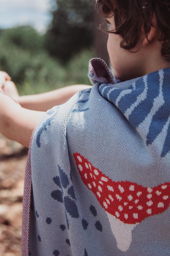 mushroom knitted jacquard cotton blanket