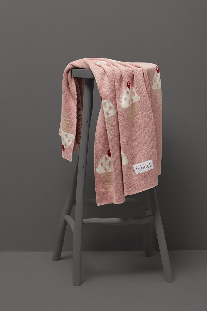 Ice cream cones pink medium blanket throw
