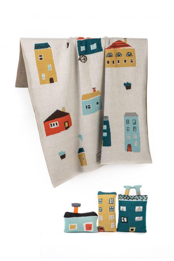zestaw kocyk + poduszki w domki