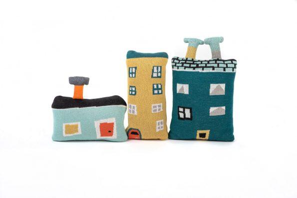 dziana żakardowa bawełniana zabawka przytulanka poduszka dekoracyjna domek