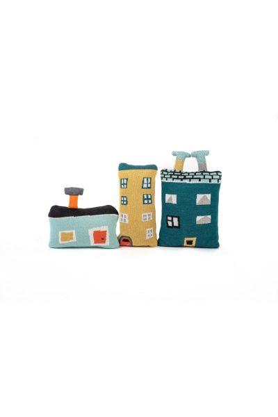 dziana bawełniana żakardowa zabawka poduszka przytulanka domki