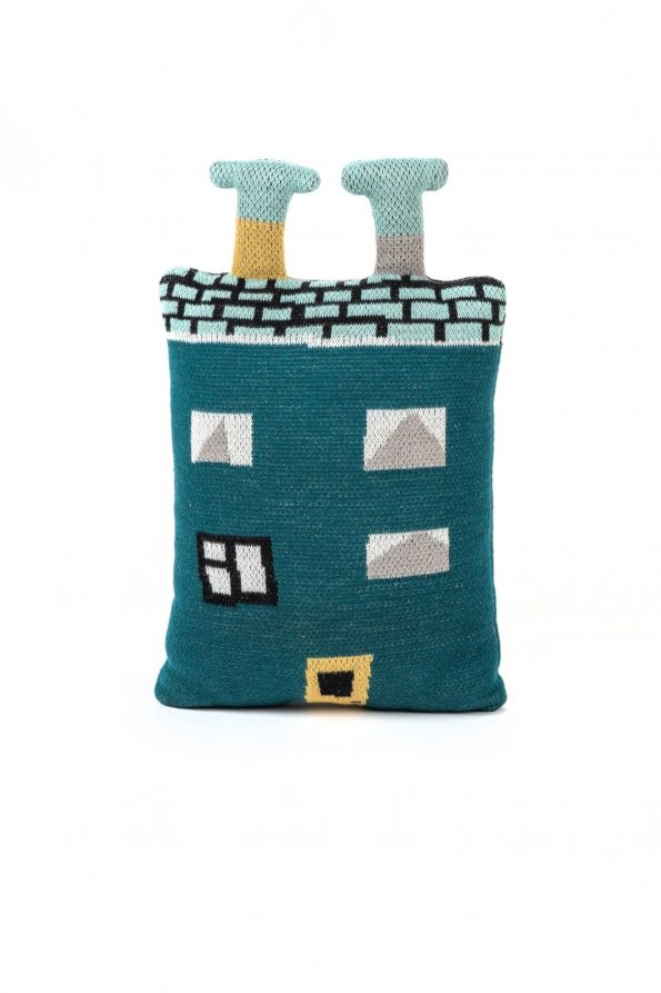 knitted cotton jacquard toy pillow house