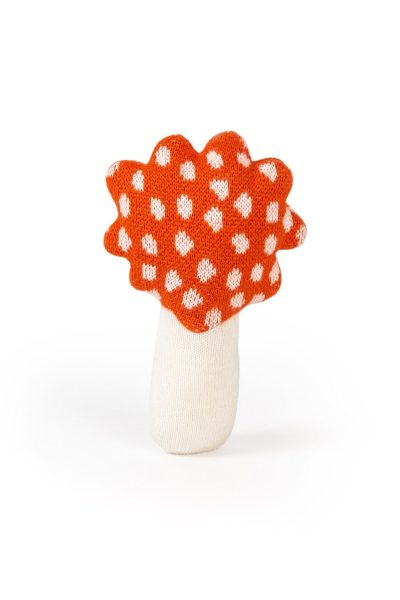 mushroom knitted jacquard cotton toy