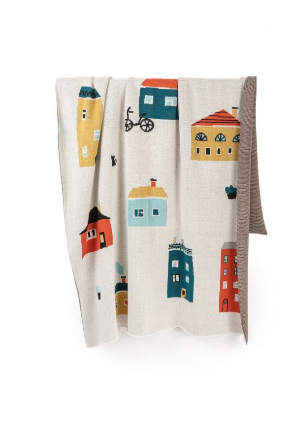 houses knitted jacquard cotton blanket