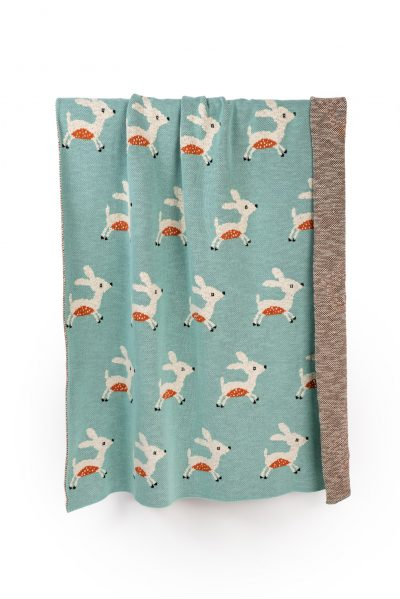 large forest deer cotton knitted blanket