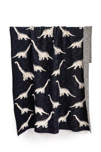 bawełniany żakardowy kocyk dziany dinozaur