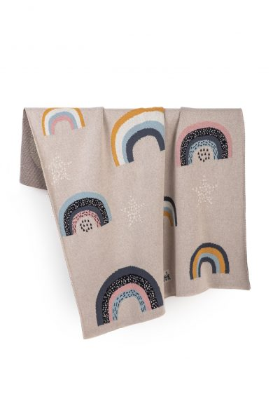 rainbows knitted jacquard cotton blanket