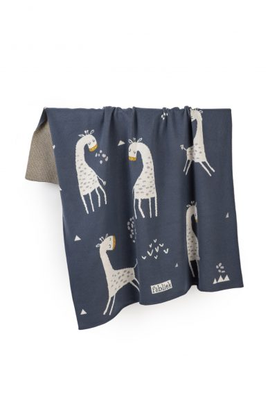 giraffes knitted jacquard cotton blanket