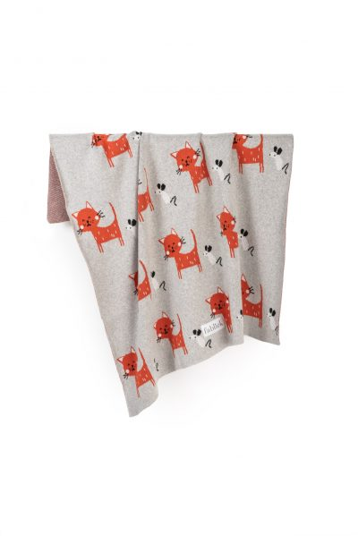 cats knitted jacquard cotton blanket