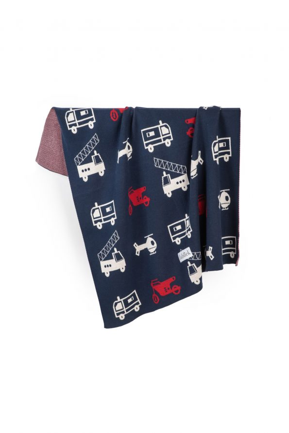 cars knitted jacquard cotton blanket