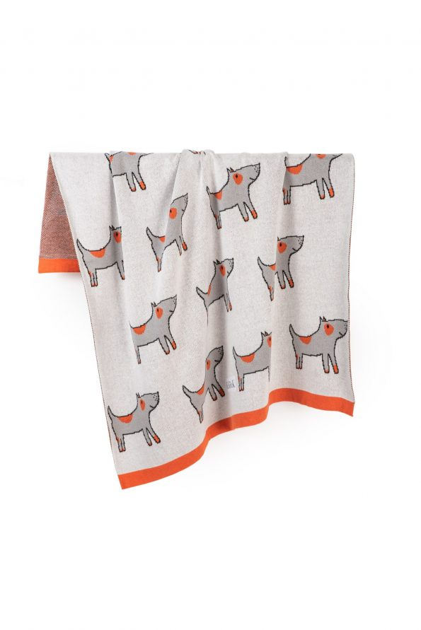 dogs knitted jacquard cotton blanket