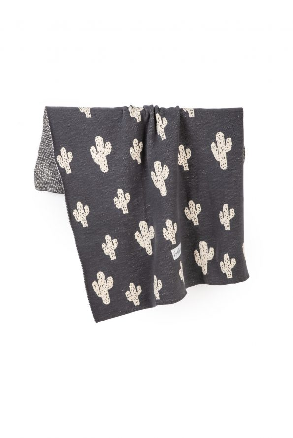 cactus knitted jacquard cotton blanket