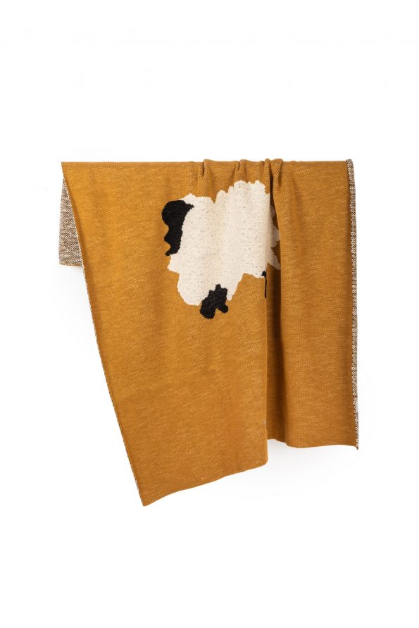 sheep knitted jacquard cotton blanket