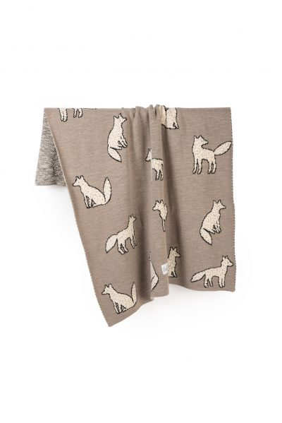 foxes knitted jacquard cotton blanket
