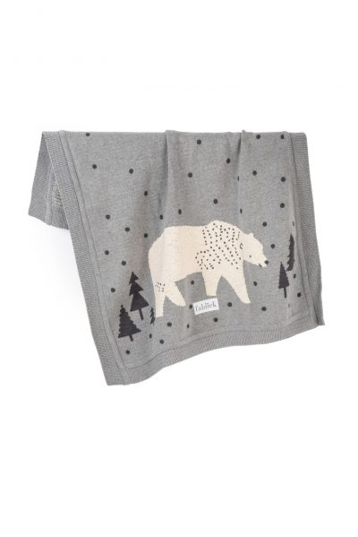 polar bear knitted jacquard cotton blanket