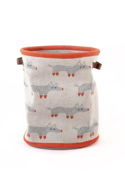 foxes knitted jacquard cotton toy basket