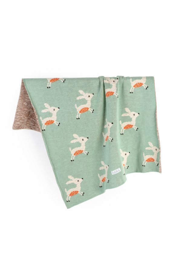 cotton knitted jacquard blanket deer